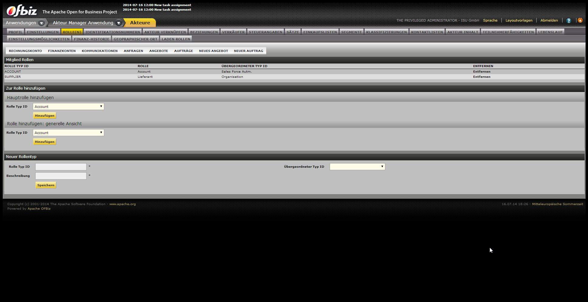 Apache OFBiz Partnerverwaltung